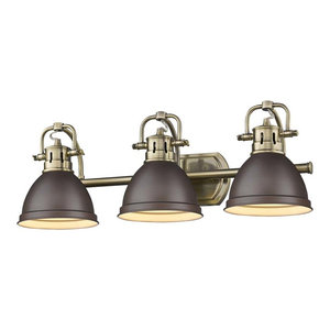 Duncan 3-Light Bath Vanity, Aged Brass With Rubbed Bronze Shades