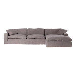 Plume Upholstered Block Arm Pewter Grey 2-Piece Sectional Sofa 106""