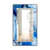 Designart Marbled Geode 11 Midcentury Frameless Wall Mirror, 28x48