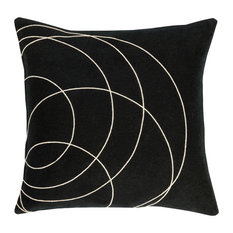 "Tessa Geometric Down Filled Accent Pillow Black 18""x18""x4"""