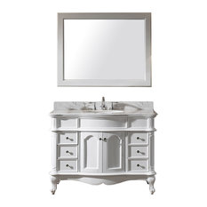 "Virtu Norhaven 48"" Single Bathroom Vanity, White With Marble Top, With Mirror"
