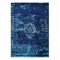 Sofia Overdyed Oriental Medallion Area Rug, Blue, 5'x7'5""