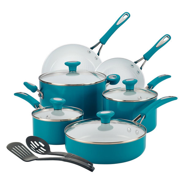 Silverstone Ceramic CXI Nonstick 12-Piece Cookware Set, Marine Blue