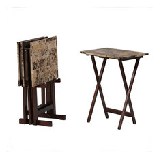 Tray Table Set Faux Marble, Brown