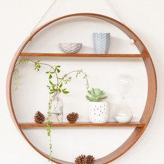 - OAK CIRCLE SHELF - TWO TIER - DARK WALNUT FINISH - Display and Wall Shelves
