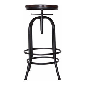Rustic Bar Stool With Black Metal Frame, Wooden Top and Adjustable Height