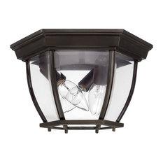 Capital Lighting 3 Lamp Outdoor Ceiling Fixture, Old Bronze, Clear