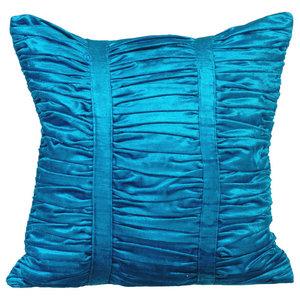 Textured Pintucks 35x35 Velvet Blue Accent Cushions, Blue Beauty