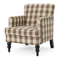 Traditional Accent Chair, Checkerboard Patterned Seat With Nailhead Trim, Brown