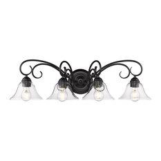 Golden Homestead 4-LT Bath Vanity Light 8606-BA4 BLK-CLR, Black