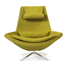 Retropolitan Modern Cashmere Lounge Wing Chair, Deco Moss