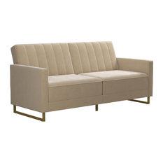 Novogratz Skylar Modern Coil Futon/Sofa Bed, Ivory