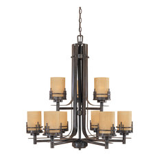 Designers Fountain 82189 Asian Nine Light Up Lighting Two Tier Chandelier from