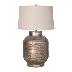 Table Lamp With Shade, Pewter Painted