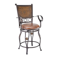 Powell Bronze Big and Tall Copper Stamped Back Counter Stool With Arms