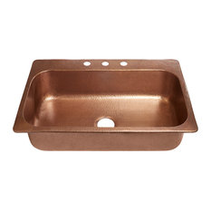 """Angelico Drop-In Handmade Copper 33"""" 3-Hole Single Bowl Copper Kitchen Sink"""