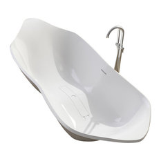 ADM Curved Freestanding Bathtub, Matte White, 85.8""