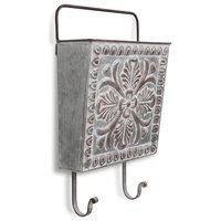 Hanging Storage Pocket, Floral Front Pattern, Dual Bottom Hooks, Top Handle Bar