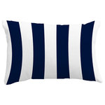 "E by Design - Rugby Stripe Stripe Print Throw Pillow With Linen Texture, Navy, 14""x20"" - Create a cool coastal environment in your home with a decorative sea pillow from E by Design! The Nantucket Rugby Stripe Navy Stripe decorative pillow was designed to bring the sophistication and beauty of the sea to your home decor. You'll love the feel of this collection and the summer warmth it will bring to your decor. These pillows are perfect for any bedroom, sitting room, living room, or any furniture that needs a touch of stylish comfort!"