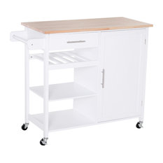 HomCom Rolling Kitchen Island Cart With Large Countertop Display Wine Rack