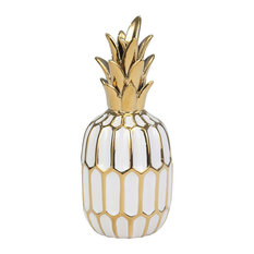 Sagebrook Home White/Gold Ceramic Pineapple 9.75""