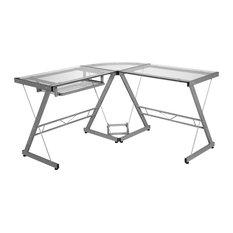 comfort products onespace ultramodern glass lshape desk silver and clear desks - Glass L Shaped Desk