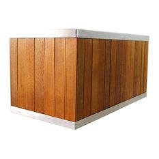 Rectangular Planter, Stainless Steel Trim and Eucalyptus Wood Body, Medium Brown