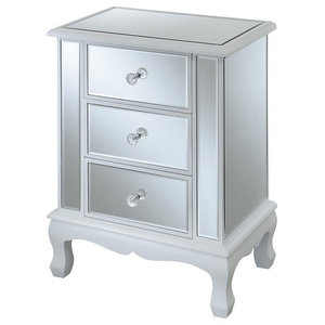 Convenience Concepts Gold Coast Vineyard 3-Drawer Mirrored End Table, White