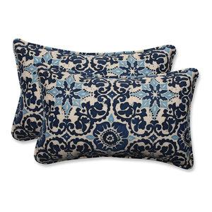 Woodblock Prism Blue Rectangular Throw Pillow, Set of 2, 18.5x11.5x5