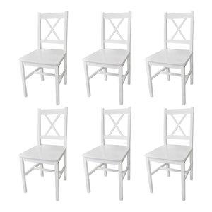 vidaXL Wood Dinning Chairs, White, Set of 6