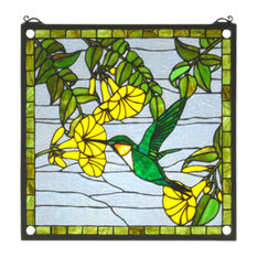 "17""Wx17""H Hummingbird Stained Glass Window"