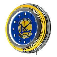 Trademark Gameroom - NBA Chrome Double Rung Neon Clock, City, Golden State Warriors - Wall Clocks