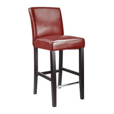 """CorLiving Antonio 31"""" Bonded Leather Bar Stool in Red"""