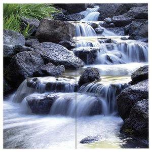 Paesaggi Misty Waterfalls 4-Piece Modern Wall Art Canvas, 160x160 cm