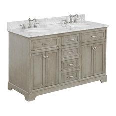 "Aria 60"" Bath Vanity, Weathered Gray, Top: Carrara, Double Vanity"