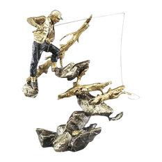 Deep Pockets Fisherman Bronze Sculpture