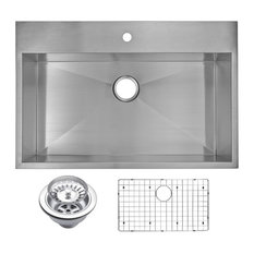 "33"" X 22"" Zero Radius Single Bowl Stainless Steel Drop In Kitchen Sink"