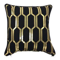Honey Metallic Cushion Cover, Black and Gold