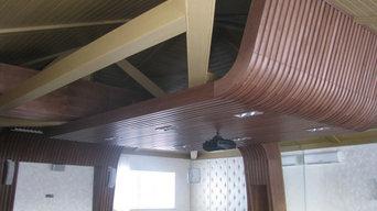 Декоративный потолок из массива дерева.