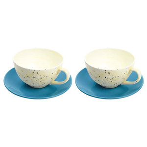 Large Cups and Saucers Set, Blue, Yellow, 4 Piece