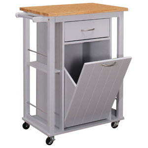 Microwave Kitchen Cart With Hideaway Trash Can Holder ...