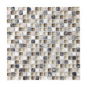 "Bliss Cappuccino Stone and Glass Square Mosaic Tile, 12""x12"""