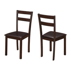Dining Chair 2 Pieces 35-inchH Cappuccino Dark Brown Seat