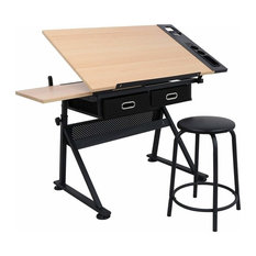 Drawing Desk With Stool, MDF With Steel Frame and 6-Adjustable Height