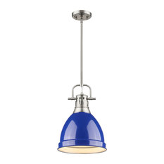 Duncan Mini Pendant With Rod, Pewter, Pewter And Blue