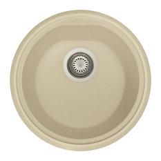 alfi brand 17 drop in round granite composite kitchen prep sink biscuit - Kitchen Sinks Round
