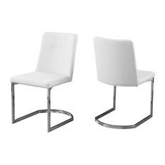 Monarch Specialties - Leather-Look Dining Chair With Chrome Base Set of 2  sc 1 st  Houzz & Low Back Contemporary Dining Chairs | Houzz