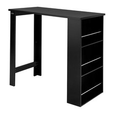 Modern Bar Table, Black Finish Wood With 3-Tier Storage Rack