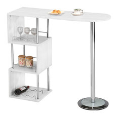 pilaster designs chrome finish bar table with storage shelves white indoor pub and