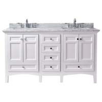 "Luz 60"" Double Sink Bathroom Vanity, White"